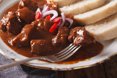 Hot Czech beef goulash with Knodel close-up. horizontal Stock Photo