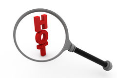 Hot 3d letters under the magnifier glass Royalty Free Stock Photography