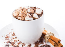 Hot dark chocolate with mini marshmallow  and cinnamon in a whit Royalty Free Stock Images