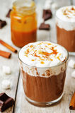 Hot dark chocolate with whipped cream, cinnamon and salted caram Royalty Free Stock Photos