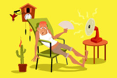 Hot day. Mature man sitting in his house in a very hot summer day with a fan, EPS 8 vector illustration, no transparencies Royalty Free Stock Image