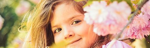 Hot day. Springtime. weather forecast. face and skincare. allergy to flowers. Little girl in sunny spring. Small child royalty free stock photo