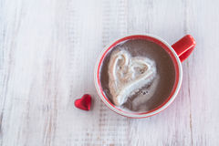 Hot Dchocolate Winter Drink With Whipped Cream Heart Stock Photos