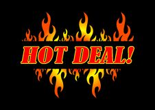 Hot Deal. Illustration of hot deal text on black background Royalty Free Stock Image