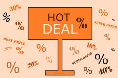 Hot deal announcement on orange billboard Stock Photos