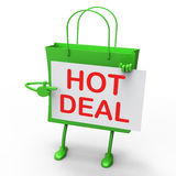 Hot Deal Bag Represents Bargains and Discounts Royalty Free Stock Photography