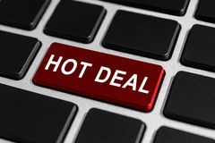 Hot deal button on keyboard. Hot deal red button on keyboard, business concept stock photography