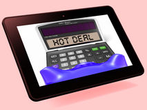 Hot Deal Calculator Tablet Shows Bargain Or Promo Royalty Free Stock Photography