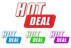 Hot deal, four colors labels Royalty Free Stock Photos
