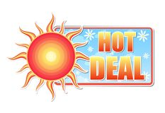 Hot deal in label with sun Royalty Free Stock Images