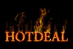 Hot deal lettering burning english on fire. With smoke on black background Royalty Free Stock Photo