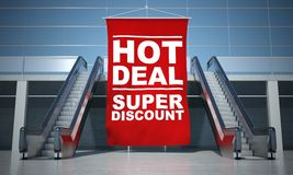Hot deal offer advertising flag and escalator Royalty Free Stock Image