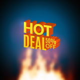 Hot Deal 50 percents off sale promotional poster with fire. Hot deal design template flyer.  Stock Photo