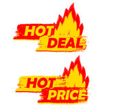 Hot deal and price on fire, yellow and red drawn labels with fla Stock Image