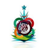 Hot deal sale promotion tags, badges for Christmas Stock Photography