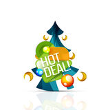 Hot deal sale promotion tags, badges for Christmas Stock Images