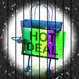 Hot Deal Shopping Bag Represents Bargains and Discounts Royalty Free Stock Image