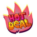 Hot Deal sticker. Vector illustration in pop-art style with sign Hot Deal, colorful sticker isolated on white Stock Photo
