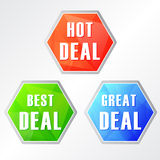 Hot deal, three colors hexagons web icons Royalty Free Stock Photography