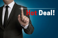 Hot Deal touchscreen is operated by businessman Royalty Free Stock Image