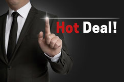Hot Deal touchscreen is operated by businessman Stock Photography