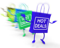 Hot Deals Bags Represent Discounts and Bargains Royalty Free Stock Images