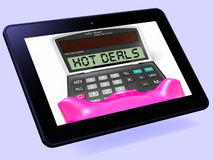 Hot Deals Calculator Tablet Shows Promotional Offer And Savings Stock Image