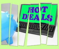 Hot Deals Piggy Bank Means Best Buys And Reduced Price Stock Image