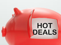 Hot Deals Piggy Bank Shows Cheap And Quality Products Royalty Free Stock Photo