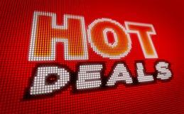 Hot deals sales. Bulbs billboard. Modern neon banner on LED display. Advertising for seasonal offer concept stock illustration