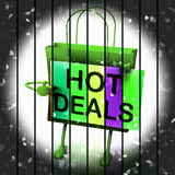Hot Deals Shopping Bag Shows Discounts and Bargains Royalty Free Stock Photo
