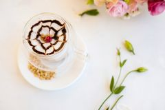 Hot and delicious cappuccino coffee royalty free stock image