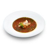 Hot delicious tomato soup with fish and rice Stock Image