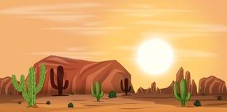 A hot desert landscape. Illustration stock illustration