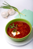 Hot dinner. Ukrainian and russian national red soup closeup royalty free stock image