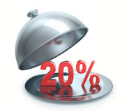 Hot Discount 20 percent. Isolated on white background Stock Photography