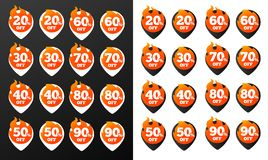 Hot Discount Burning Pins. Black and White Versions, 32 variations. Isolated Vector Objects. Stock Image