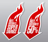 Hot discounts fiery symbols. Hot discounts fiery pointers set Stock Image