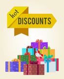 Hot Discounts Price Reduction Clearance Sale Arrow. Shape labels on poster with mountains of gift boxes vector illustration on white background vector illustration