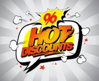 Hot discounts sale banner, pop-art style Stock Images