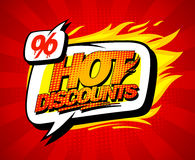 Hot discounts sale illustration in pop-art style, bright red backdrop. And speech bubble Royalty Free Stock Images