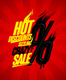 Hot discounts sizzling crazy sale design concept, burning percents Stock Image