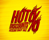 Hot discounts, sizzling crazy sale design concept, red burning text Royalty Free Stock Photography