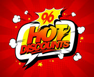 Hot discounts vector sale illustration in pop-art style Royalty Free Stock Photo