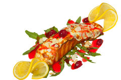 Hot dish of grilled salmon on plate with sauce Stock Image