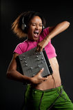 Hot dj. Listening music and screaming Stock Images