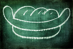 Hot dog. A hot dog drawn with a chalk on a blackboard Royalty Free Stock Photo
