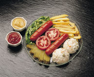 Hot Dog. Fast Food, Sandwich, Hungry, Delicious, Portion, Salad, Mayonnaise, Mustard Stock Image