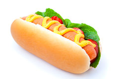 Hot dog. With vegetables on a white background Stock Photo