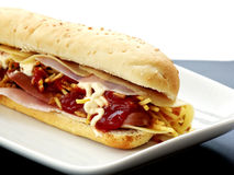 Hot dog. With cheese and ham Stock Photography